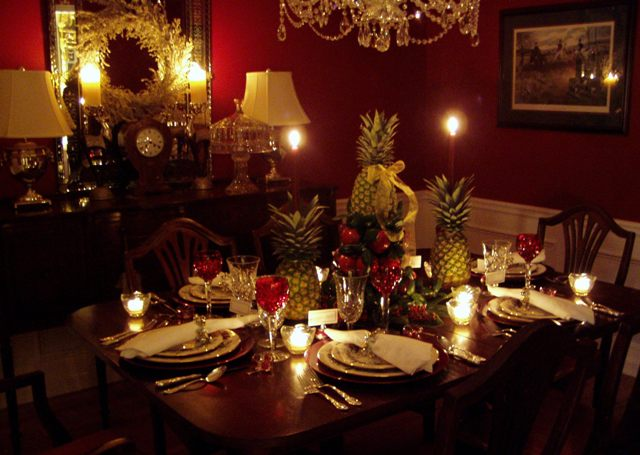 Colonial Williamsburg Christmas Table Setting with Apple Tree Centerpiece