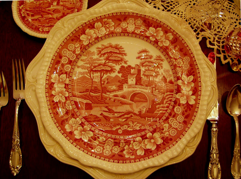 Valentine's Day Table Setting with Vintage Spode Tower