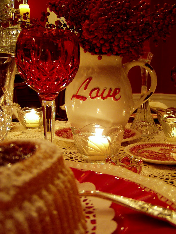Valentine's Day Table Setting Tablescape with Raspberry Heart Cakes