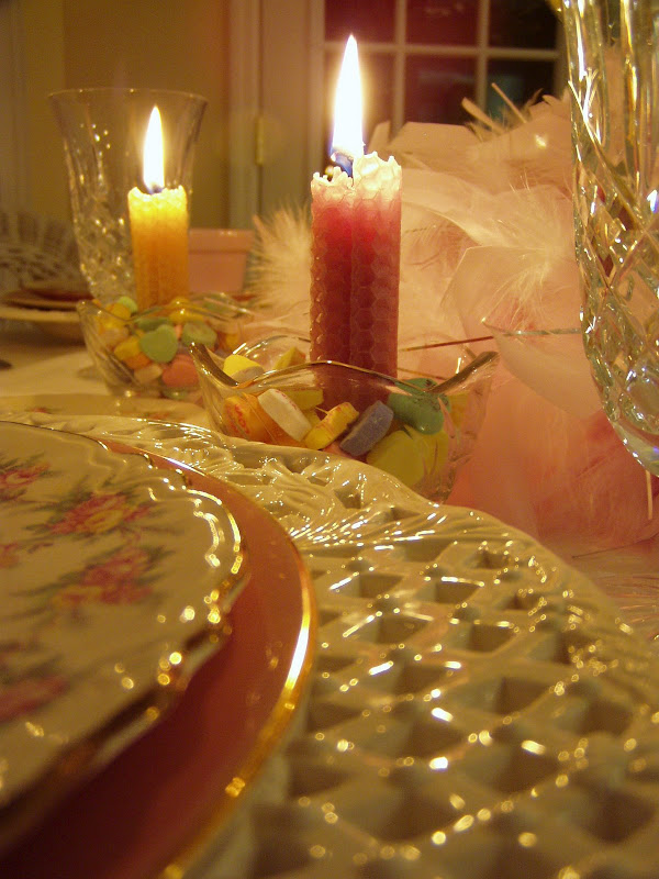 Valentine's Day Table Setting with Message Hearts