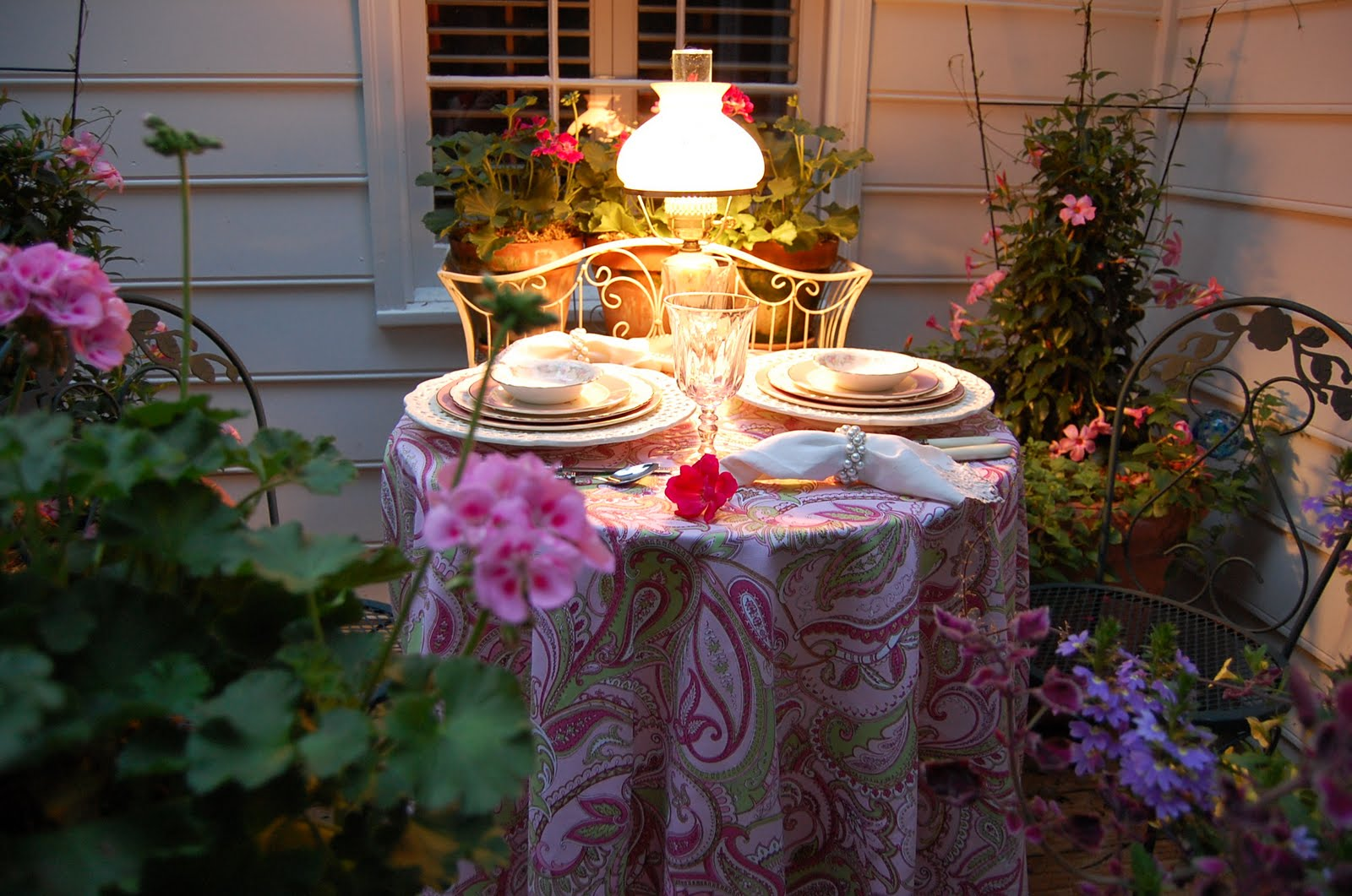 Romantic Table For Two On The Deck