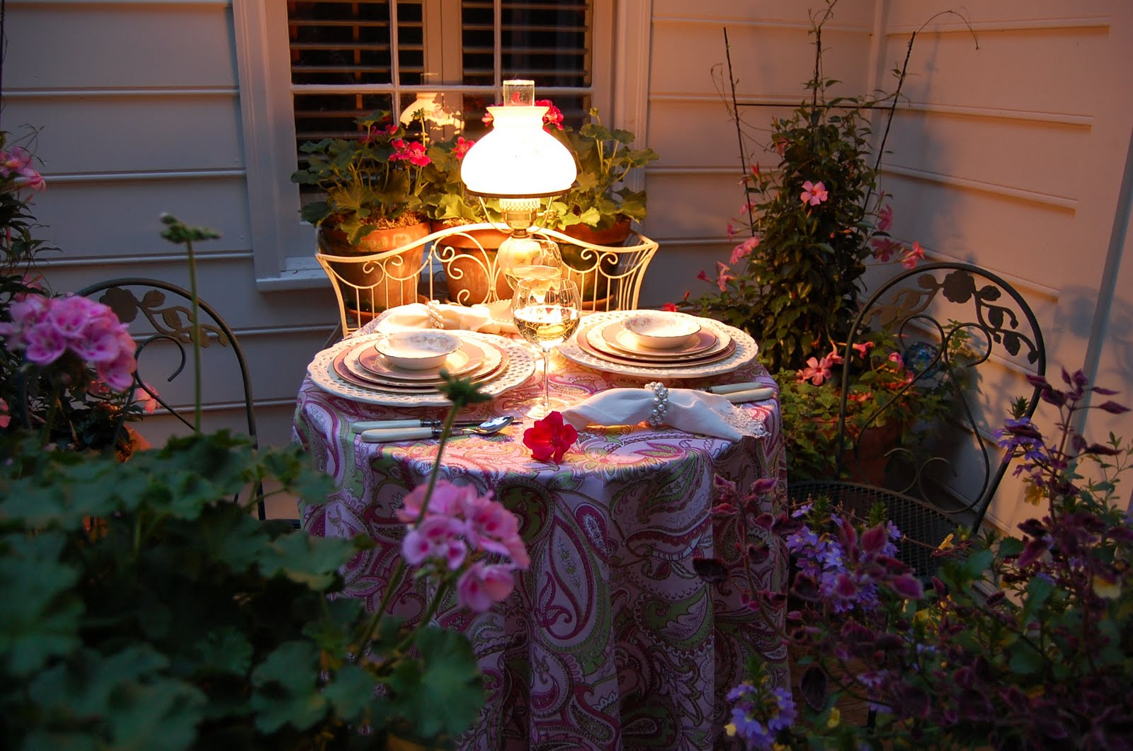 Romantic table for two on the deck for Romantic dinner