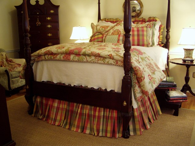 Master Bedroom Renovation with 4-Poster Bed and Plaid, Moire Bed ...