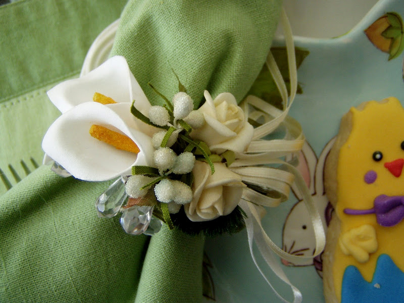 Easter Table Setting Tablescape with Bunny Centerpiece