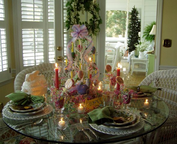 Easter Table Setting Tablescape with Egg Tree Centerpiece : Easter22B057 from betweennapsontheporch.net size 591 x 480 jpeg 82kB