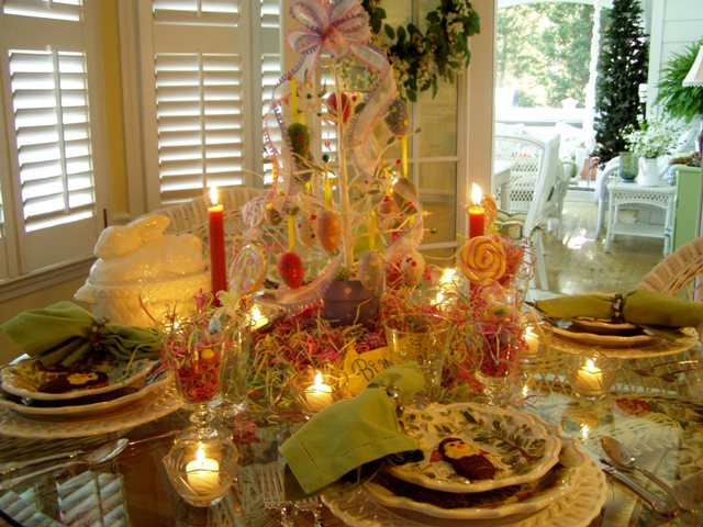 Easter Table Setting Tablescape with Egg Tree Centerpiece