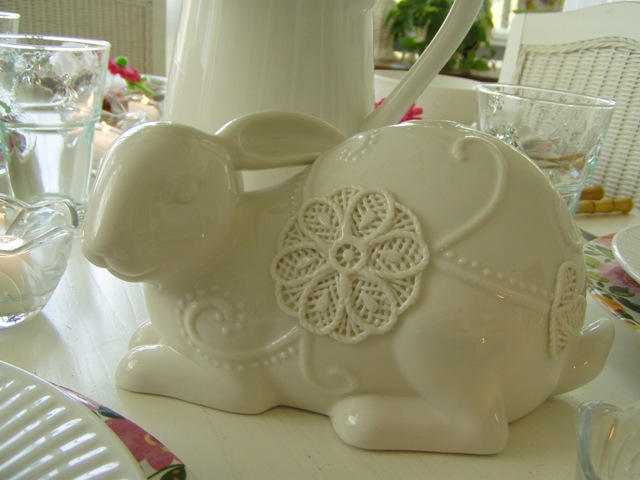 White Bunny in a Spring Easter Table Setting Tablescape