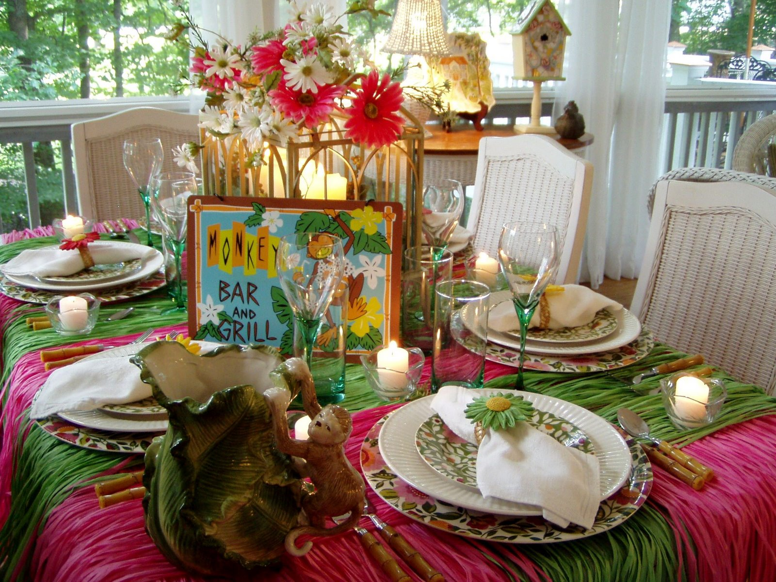 Welcome to the Monkey Bar and Grillu2026your table is right this way! & Hawaiian or Tropical Table Setting Tablescape