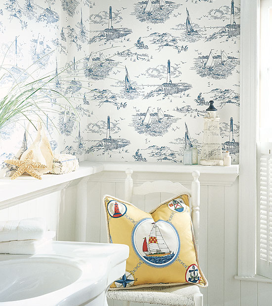 Blue and White Nautical Wallpaper