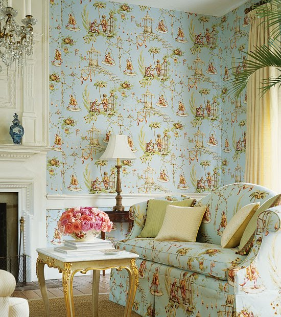 living room and powder room in english country style