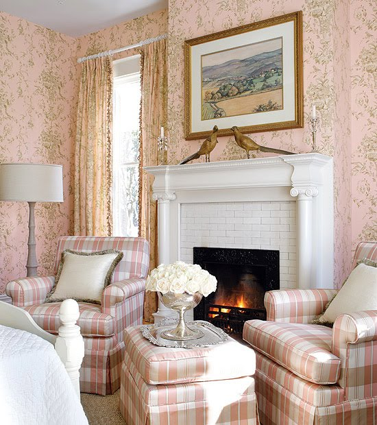Living room and powder room in english country style for English country bedrooms