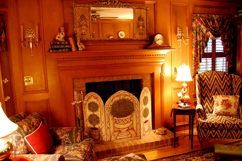 Living Room Decorated in English Country Style with Judges Paneling