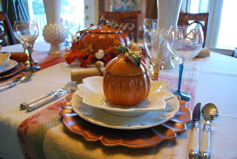 Pumpkin Tureens in a Halloween Fall Tablescape Table Setting