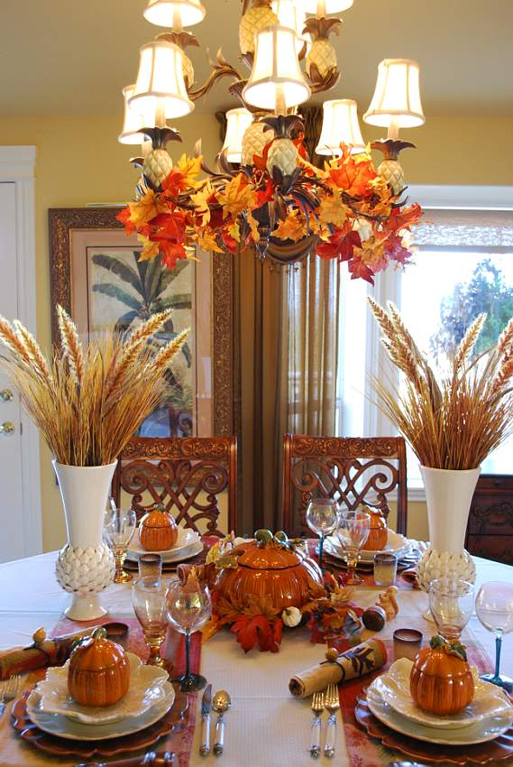 Beautiful Wheat Centerpiece With Pumpkin Tureens Between