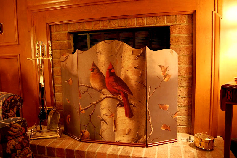 A Fall Firescreen with Cardinals and Birch Tree