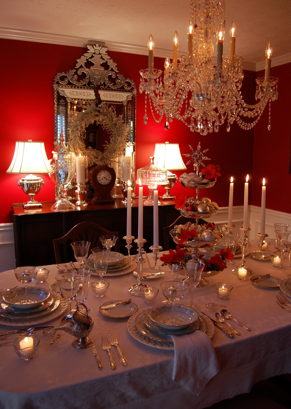 Christmas tablescape table setting with silver tiered