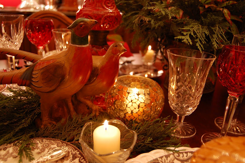 Pheasant centerpiece for Thanksgiving Table Settings