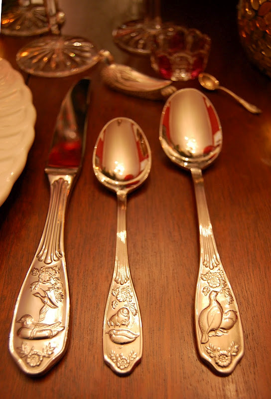 Thanksgiving Table Setting with Spode Woodland Flatware
