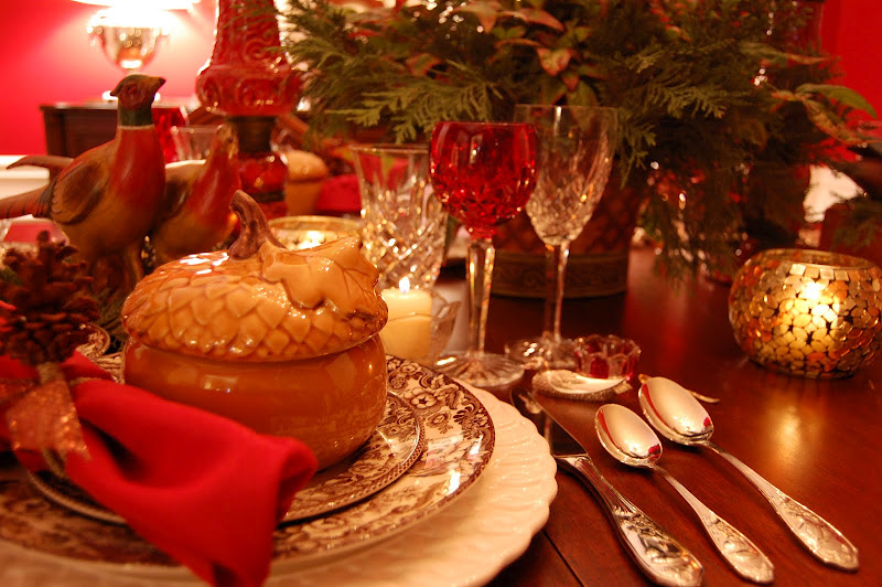 Thanksgiving Table Setting with Acorn Tureens