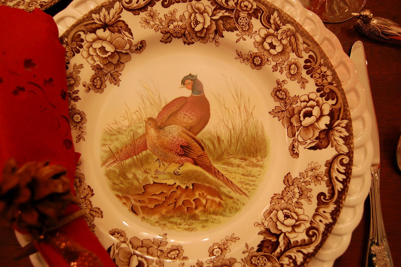 Thanksgiving Table Setting with Spode Woodland China