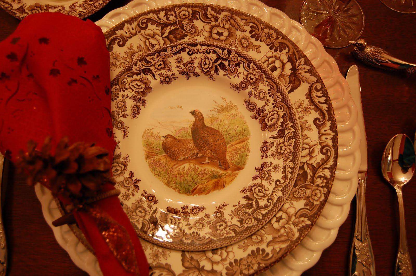 Thanksgiving Tablescape Table Setting With A Woodland & Spode Woodland Turkey Dinner Plate - Castrophotos