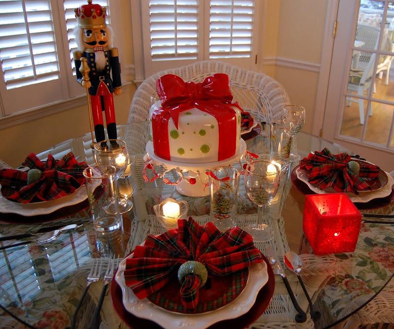 Christmas Tablescape With Plaid Napkins And Plaid Scottie