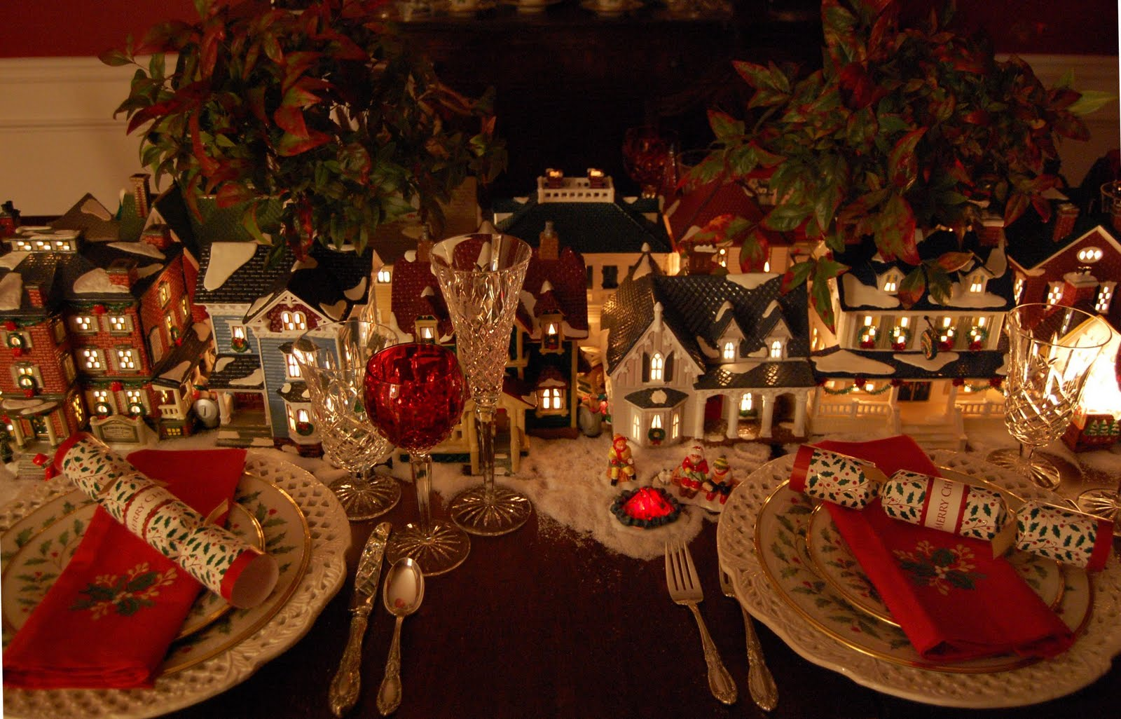 a dept 56 christmas table setting between naps on the porch