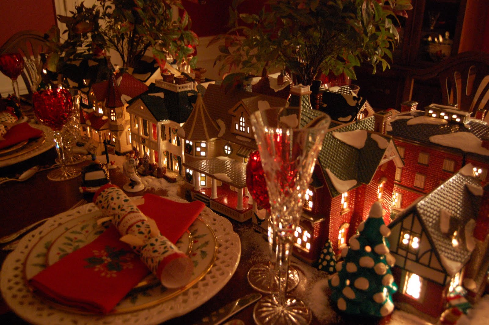 Christmas Table christmas table setting tablescape with dept. 56 lit houses and