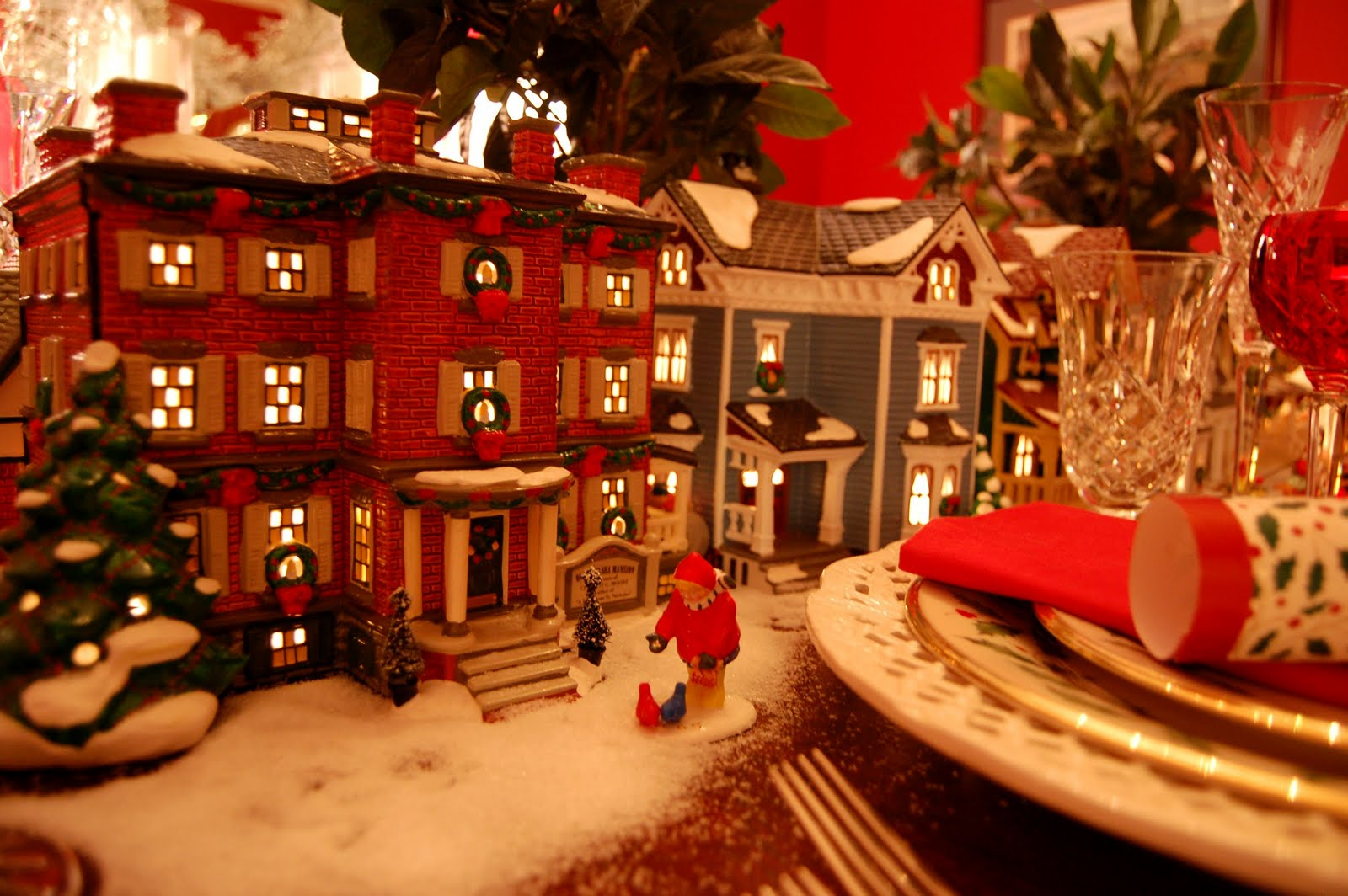 Christmas table setting tablescape with dept lit
