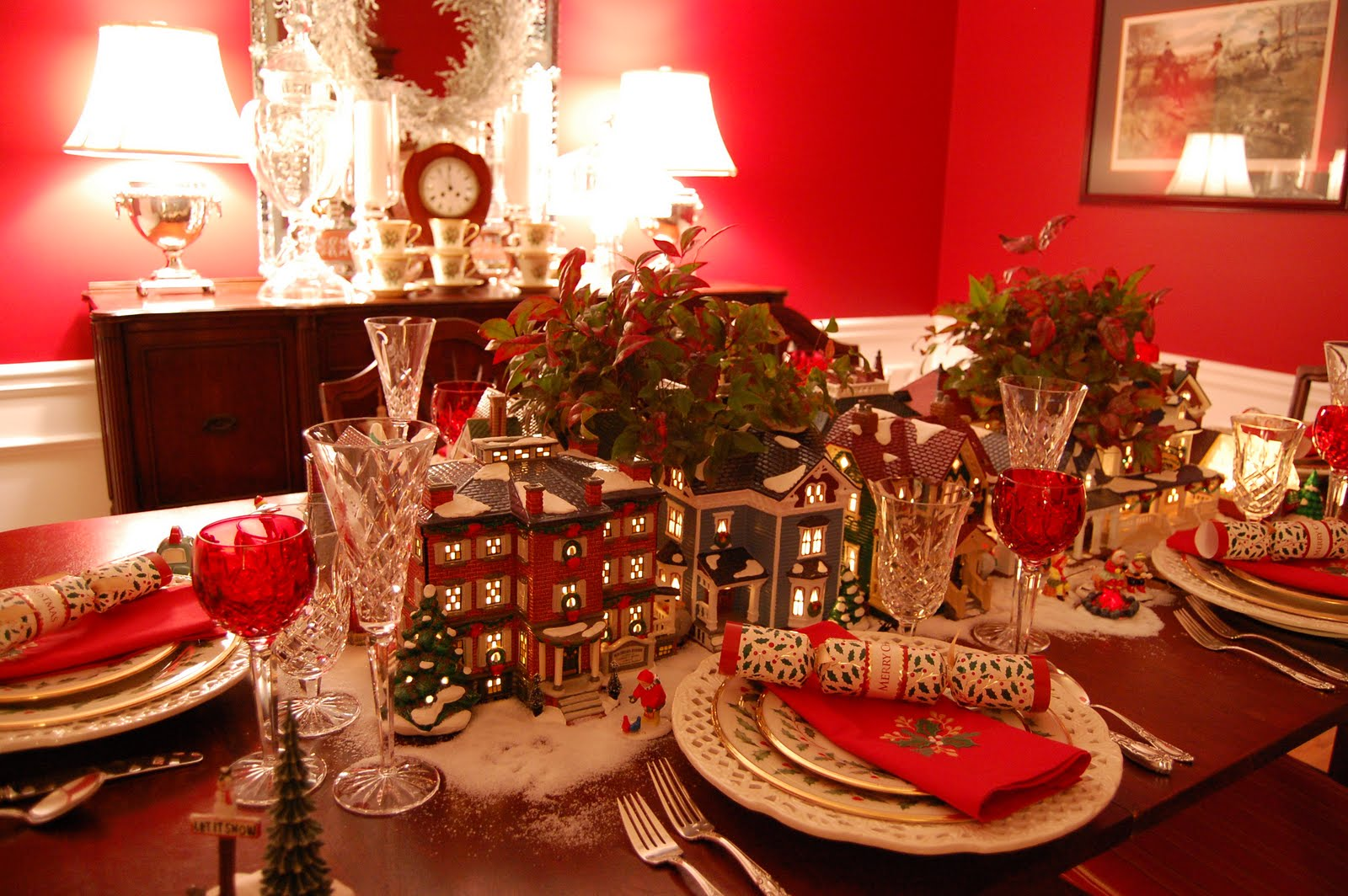 Merry Christmas to you and your family! & Christmas Table Setting Tablescape with Dept. 56 Lit Houses and ...