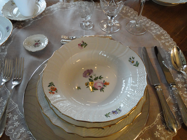 \u201cThe napkins I used are Swiss embroidery handkerchiefs there are so fragile and dainty and match perfectly with the lace sets.\u201d & Saxon Flower by Royal Copenhagen