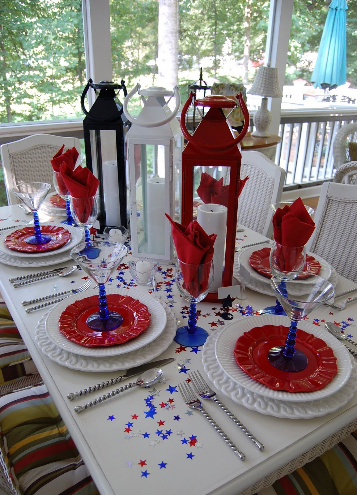 Tablescape for the 4th of july for Tablescape decor