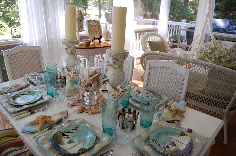 Beach Themed Table Setting Tablescape