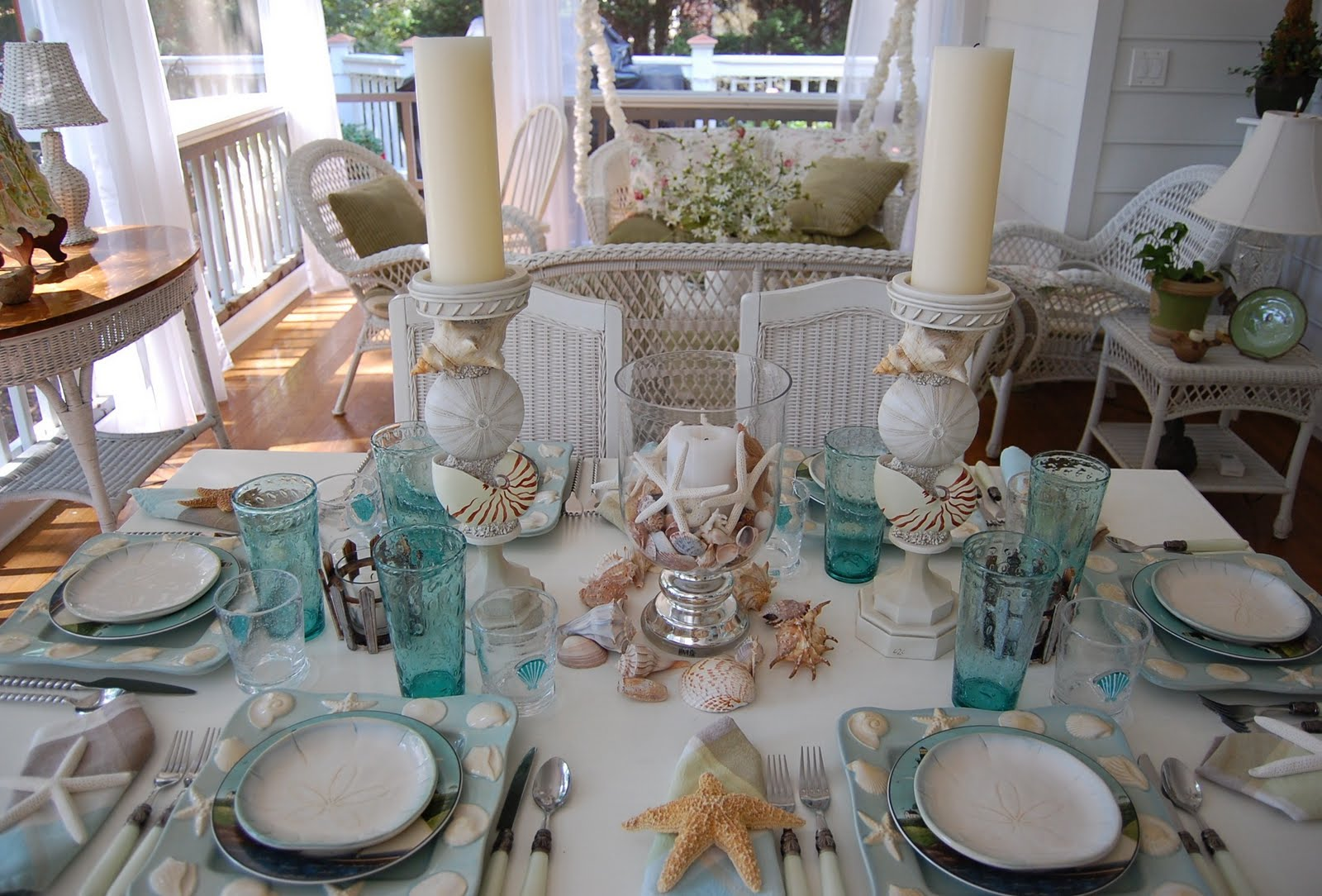 Beach Themed Table Setting Tablescape : beach tableware - pezcame.com