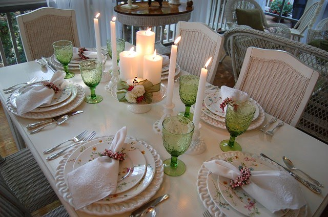 Spring Table Setting Tablescape with Candlelight Centerpiece