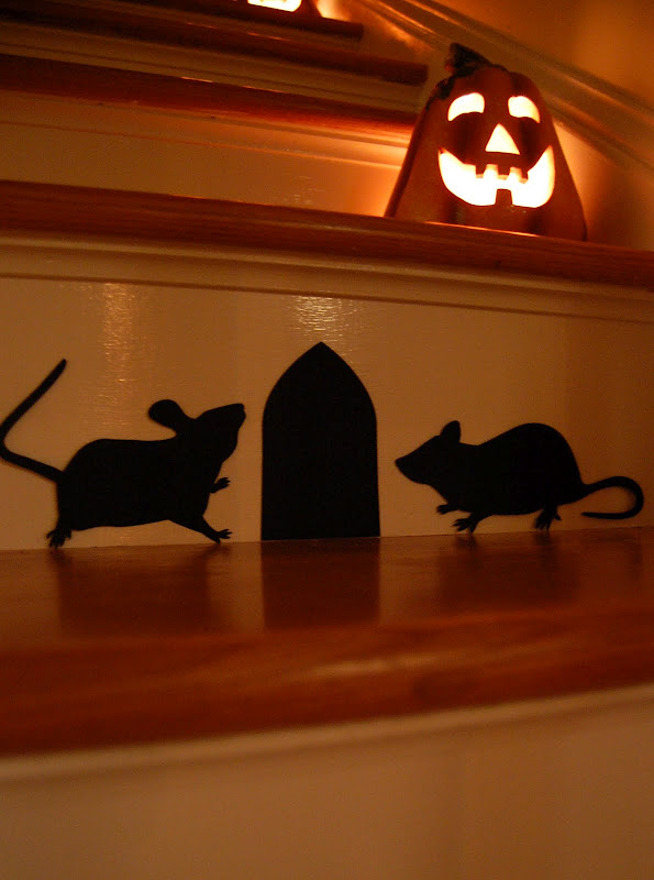 Decorate a staircase with Martha Stewart decal silhouette rats for Halloween