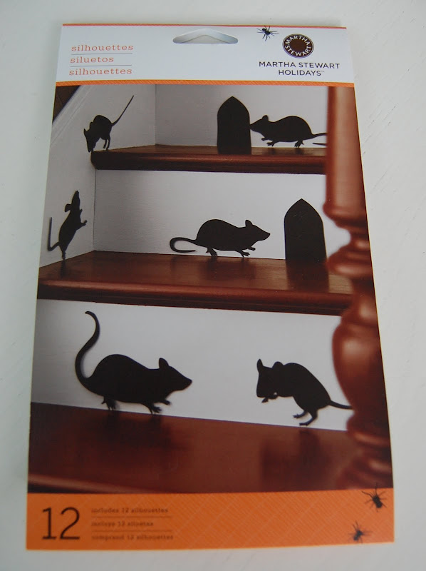 Decorate a staircase with Martha Stewart decal silhouette mice for Halloween