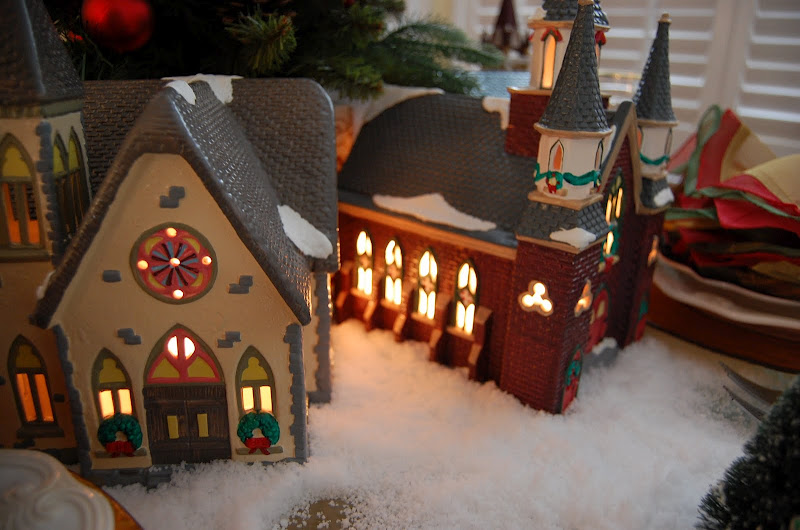 Christmas Setting With Dept 56 Churches