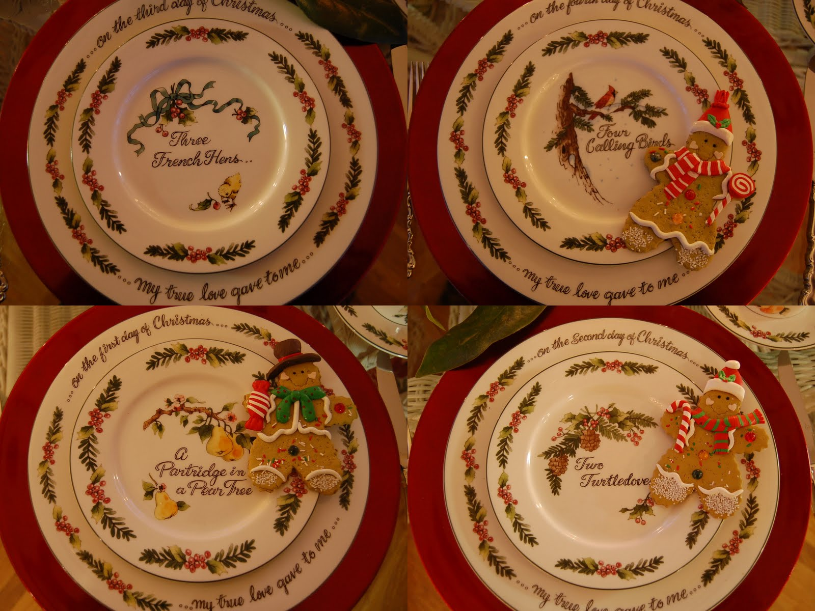 ... 4-pc place settings of Valarie Parr Hillu0027s 12 Days of Christmas for $45! Iu0027m on the lookout now for days 9-12. Here are the salad plates for days 1-4. & Christmas Tablescape Table Setting with a 12 Days of Christmas Theme