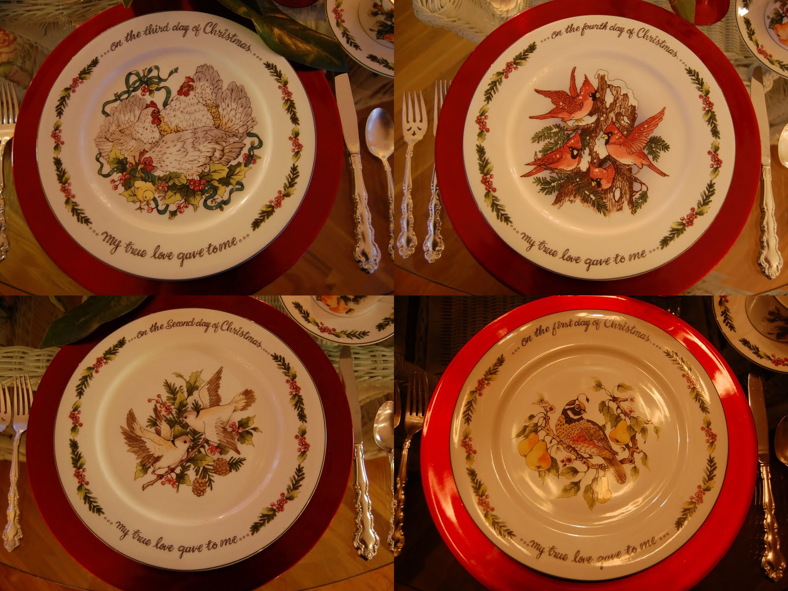 & Christmas Tablescape Table Setting with a 12 Days of Christmas Theme