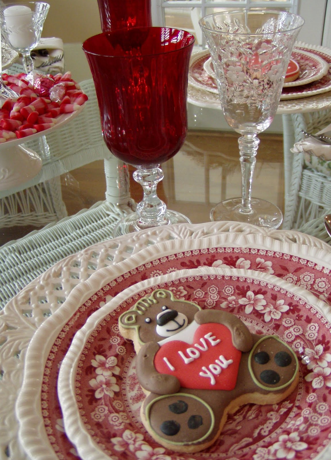 A valentine s day tablescape table setting with diy candy
